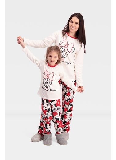 Mickey Mouse Mickey & Minnie Mouse Lisanslı Polar Kız Çocuk Pijama Takımı Krem